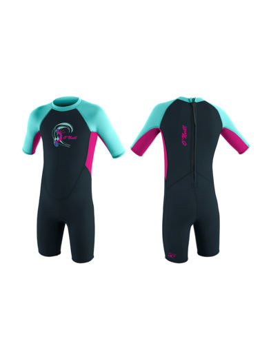 Toddler Reactor-2 2mm Back Zip S/S Spring Girls - Blue Pink Black FU2 4867G