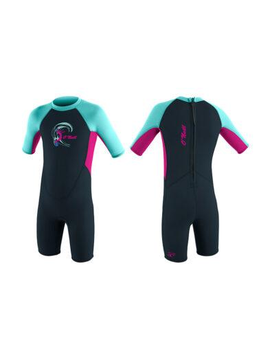 Toddler Reactor-2 2mm Back Zip S/S Spring Girls - Blue Pink Black FU2 4867G
