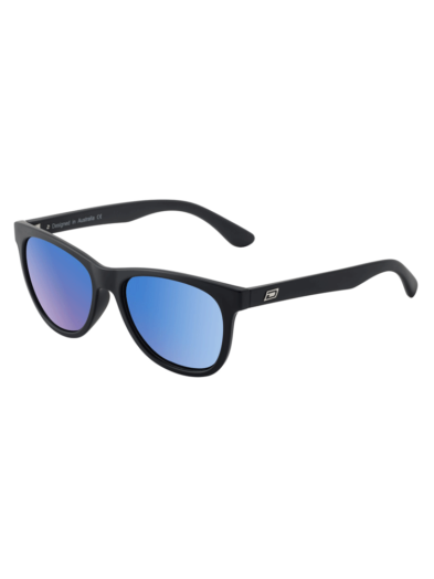 Dirty Dog Sunglasses - Teko - Satin Black - Grey Blue Mirror Lens - 53497