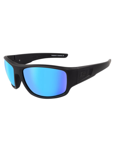 Dirty Dog Sunglasses Muffler - Satin Black Ice Blue Polarised Lens