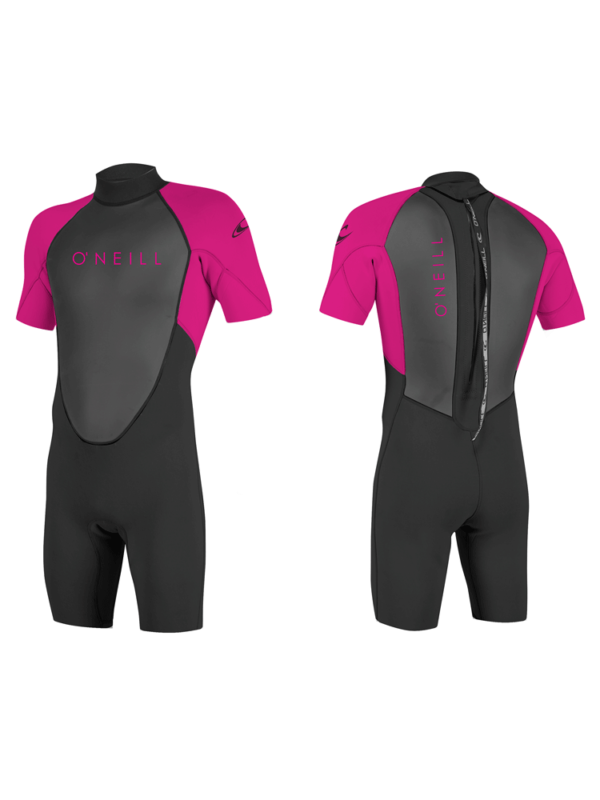O'Neill Reactor 2mm Shorty Back Zip Youth Girls Spring/Summer Shortie Wetsuit