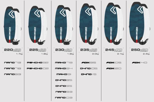 Severne Lite Shell Windsurfing Board Bag Sizes