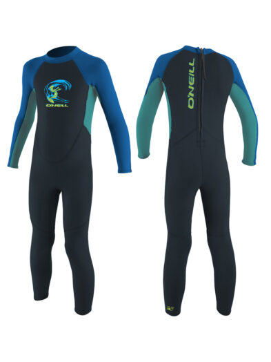 O'Neill Toddler Reactor 2mm Back Zip Full Wetsuit - Boys - Slate/LTAqua/Ocean