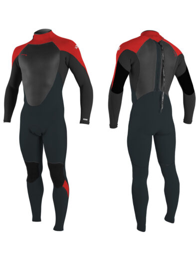 2020 O'Neill Youth Epic 5/4mm Back Zip Wetsuit - Gunmetal/ Black/ Red/ Red