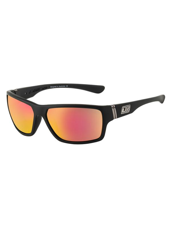 Dirty Dog Sunglasses Satin Black / Red Fusion Mirror Polarised