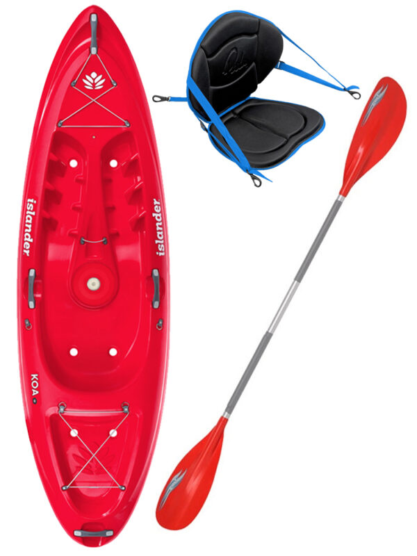 KOA Beach - Coral Red - Deluxe Back Rest Colt Junior Paddle Package