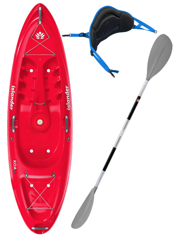 KOA Beach - Coral Red - Surf Back Rest Egalis Paddle Package