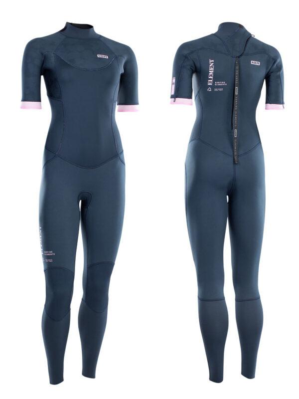 2021 ION Element 3/2mm Back Zip Short Sleeve Womens Wetsuit – Dark Blue 48213-4519