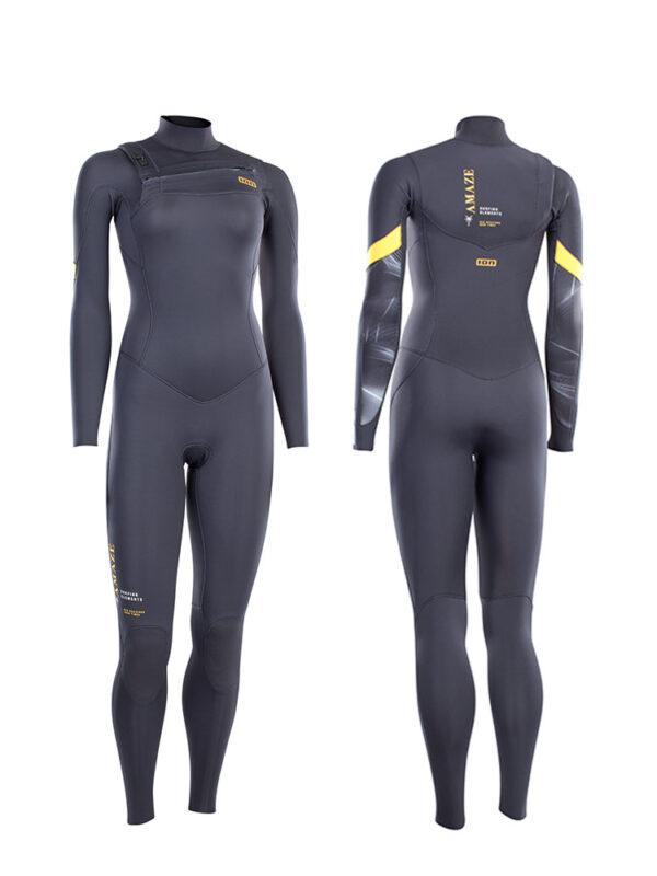 2021 ION Amaze Core Semidry 5/4mm Front Zip Womens Wetsuit – Steel Grey – 48213-4535