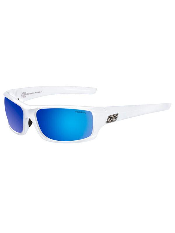 Dirty Dog Clank Sunglasses - White Frame/ Grey Blue Mirror Polarised Lens - 53241